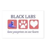 Black Lab Pawprints Postcards (Package of 8)