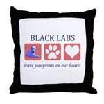 Black Lab Pawprints Throw Pillow