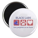Black Lab Pawprints Magnet