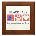 Black Lab Pawprints Framed Tile
