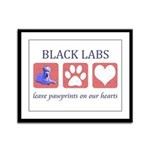 Black Lab Pawprints Framed Panel Print