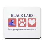 Black Lab Pawprints Mousepad