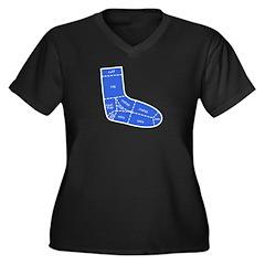 Sock Anatomy Women's Plus Size V-Neck Dark T-Shirt