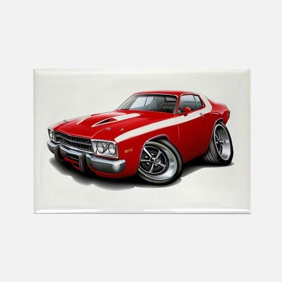 Roadrunner Red-White Car Rectangle Magnet