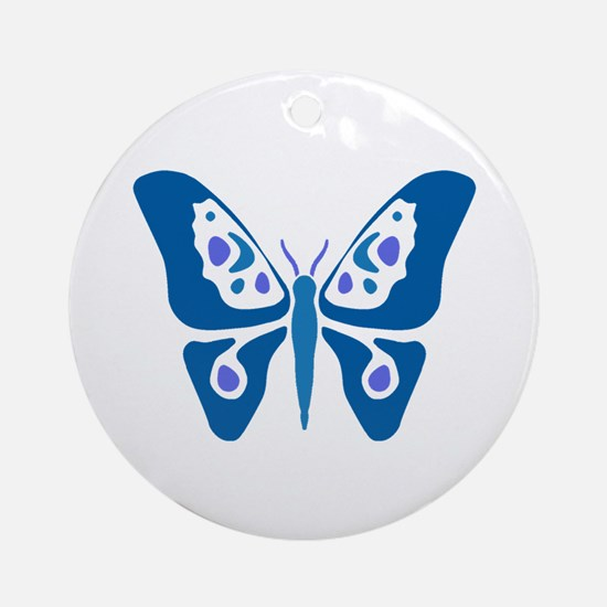Butterfly Blue Tones Ornament (Round)
