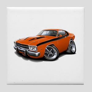 Roadrunner Orange-Black Car Tile Coaster