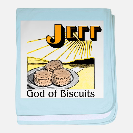 Jeff, God of Biscuits baby blanket
