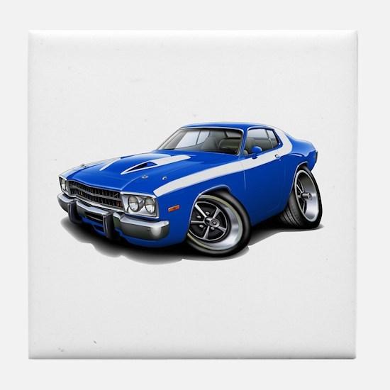 Roadrunner Blue-White Car Tile Coaster