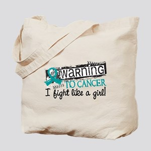 Licensed Fight Like A Girl Ovarian Cancer Tote Bag