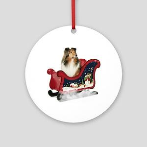 Sheltie's Sleigh Ornament (Round)