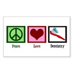 Peace Love Dentistry Sticker (Rectangle)