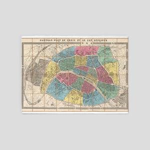Vintage Map of Paris France (1863) 5'x7'Area Rug