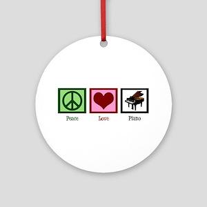 Peace Love Piano Ornament (Round)