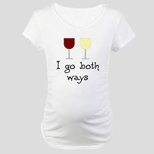 I Go Both Ways Red White Wine Maternity T-Shirt