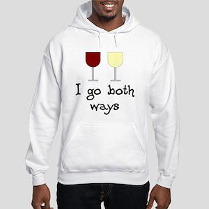I Go Both Ways Red White Wine Hooded Sweatshirt