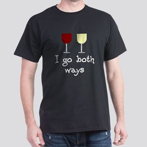 I Go Both Ways Red White Wine Dark T-Shirt