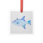 Ocean Triggerfish Square Glass Ornament