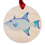 Ocean Triggerfish Maple Round Ornament