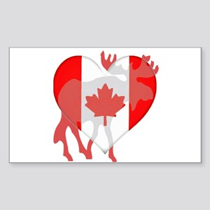 I Love Canada Moose Sticker (Rectangle)