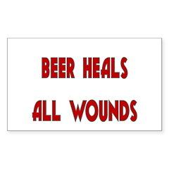 Beer Heals All Wounds Sticker (Rectangle)