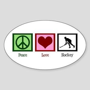 Peace Love Hockey Sticker (Oval)