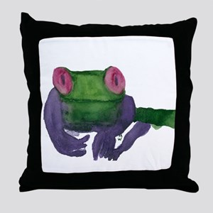 Thoughtful Frog Throw Pillow