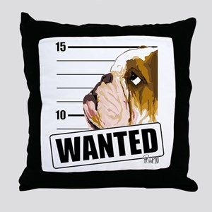 Bulldog Wanted Throw Pillow