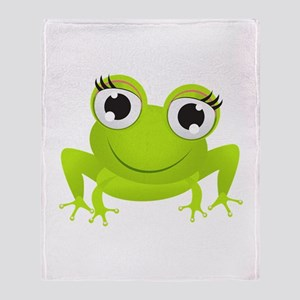 Girlie Girl Frog Frogette Throw Blanket