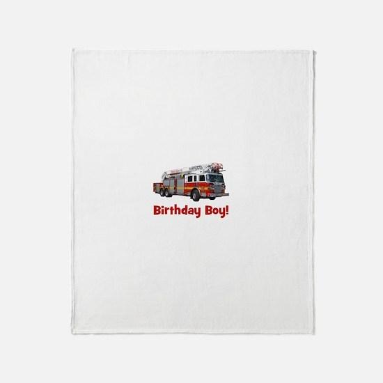 Birthday Boy Fire Truck Throw Blanket