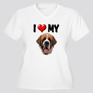 I Love My St. Bernard Women's Plus Size V-Neck T-S