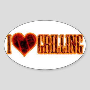 I Love Grilling Sticker (Oval)