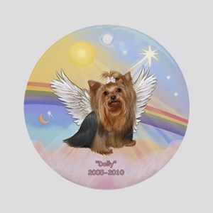 Yorkie Angel Dolly Ornament (Round)