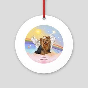 Yorkie Angel Dolly Ornament (Round)