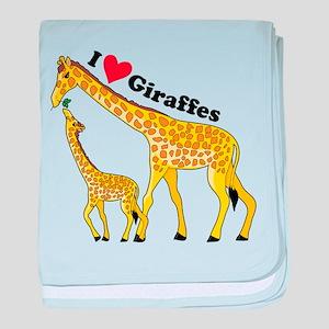 I Love Giraffes baby blanket