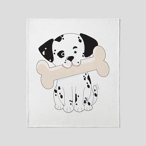 Dalmatian with Bone Throw Blanket