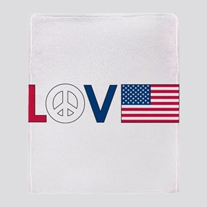 Love Peace America Throw Blanket