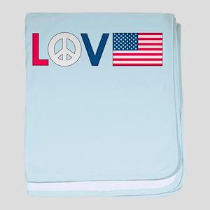 Love Peace America baby blanket