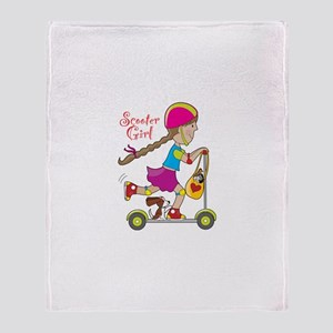 Scooter Girl Throw Blanket