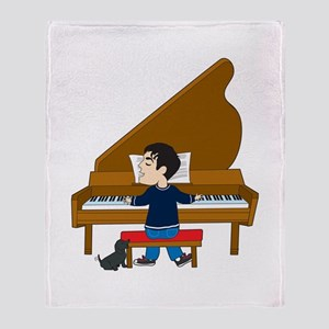 Piano Player and Dog Throw Blanket