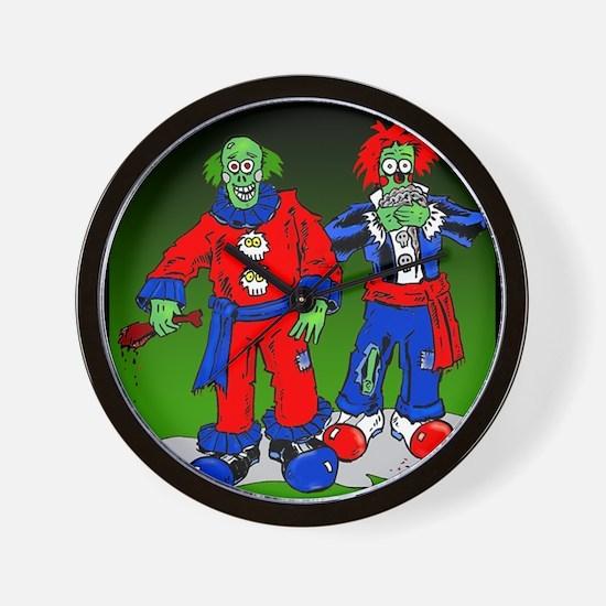 Funny Zombie Clowns Wall Clock