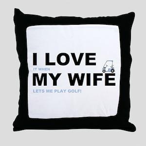Golfing I love my wife Throw Pillow