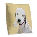 Bedlington Terrier Burlap Throw Pillow