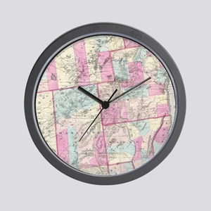 Vintage Map of The Adirondack Mountains Wall Clock