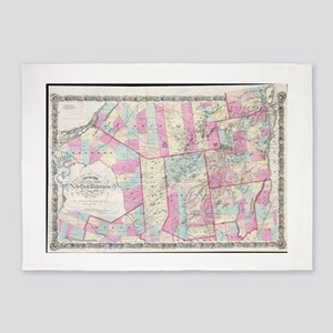 Vintage Map of The Adirondack Mount 5'x7'Area Rug