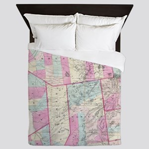 Vintage Map of The Adirondack Mountain Queen Duvet