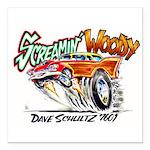"Screamin' Woody Square Car Magnet 3"" X 3&"