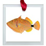 Orange-lined Triggerfish Square Glass Ornament