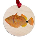 Orange-lined Triggerfish Maple Round Ornament