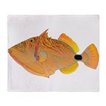 Orange-lined Triggerfish Throw Blanket