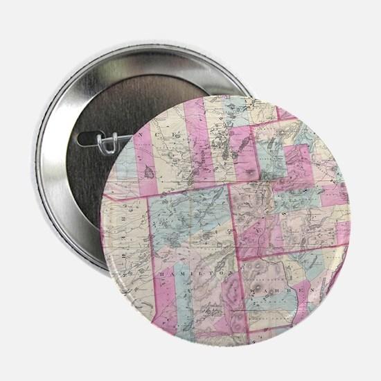 """Vintage Map of The Adirondack Mountai 2.25"""" Button"""